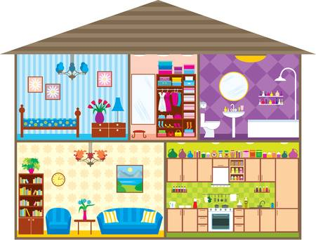 chambre � coucher: Maison Illustration