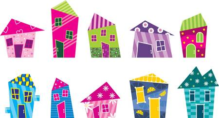 home group: Set of the bright, painted cartoon houses