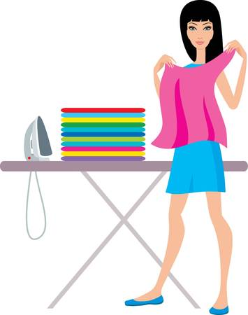 chore: Young  woman irons clothes