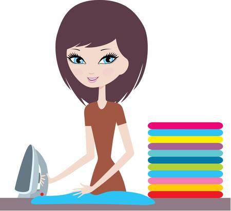 chores: Jonge cartoon vrouw ijzers kleding
