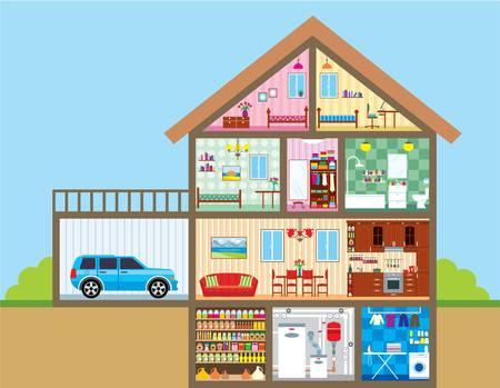 modern huis: Huis Stock Illustratie