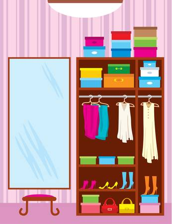 clothing rack: Wardrobe room. Furniture Illustration