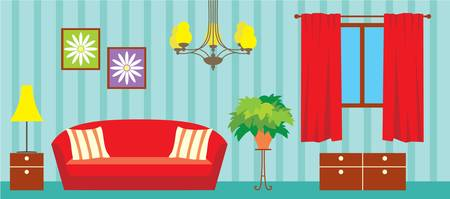modern interior room: Living room Illustration
