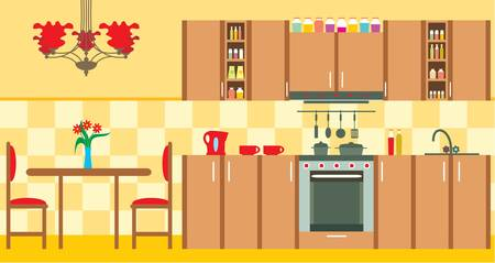 Kitchen furniture. Interior Stock Vector - 13610359