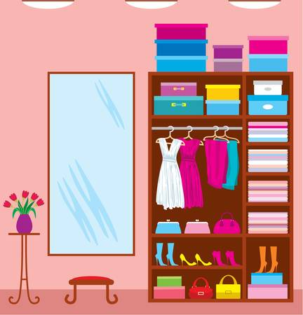 clothing rack: Wardrobe room. Furniture Illustration