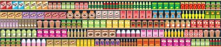 magasin: R�giments transparente avec les produits banne