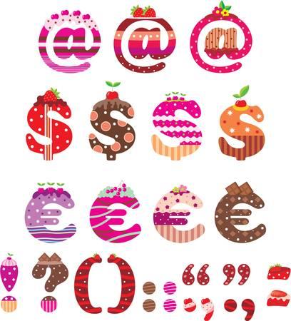 Sweet leestekens, dollarteken en euro Vector Illustratie