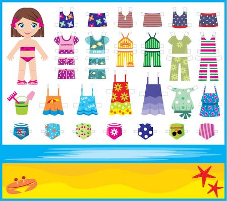 cartoon bathing: Paper doll with summer set of clothes Illustration