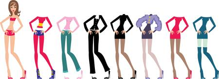 Young beautiful paper dolls with clothes set Vector