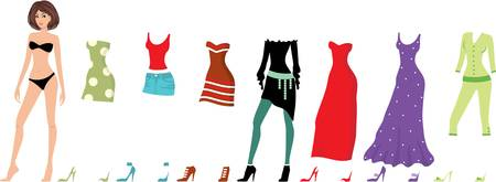paper dolls: Young beautiful paper dolls with clothes set