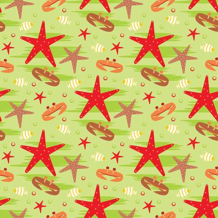 Seamless crabs and starfishes pattern Vector