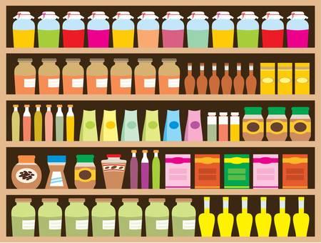 groceries: Regimientos con productos Vectores