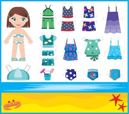 enfant maillot de bain: Poup�e de papier avec l'ensemble de v�tements d'�t�