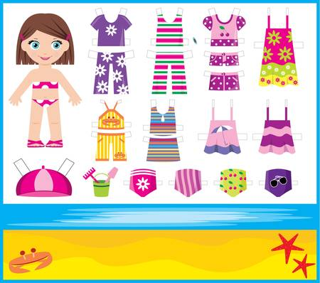paper doll: Paper doll with summer set of clothes Illustration