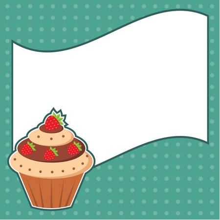 Cupcake with message cloud  Frame for a photo, form Vector