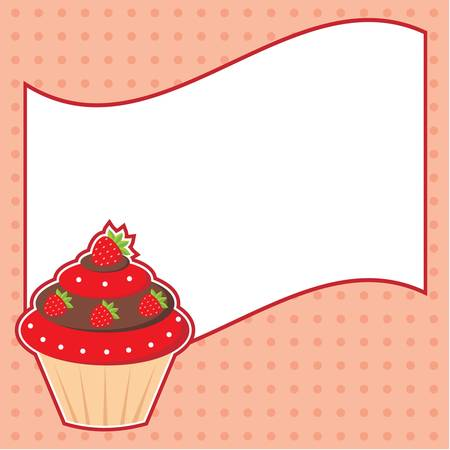 Cupcake with message cloud  Frame for a photo, form Stock Vector - 13746719