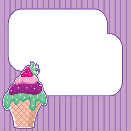 Cupcake with message cloud  Frame for a photo, form Stock Vector - 13746699