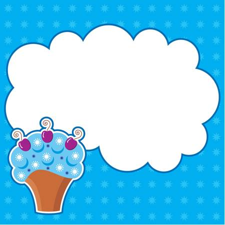 Cupcake with message cloud  Frame for a photo, form Stock Vector - 13746703