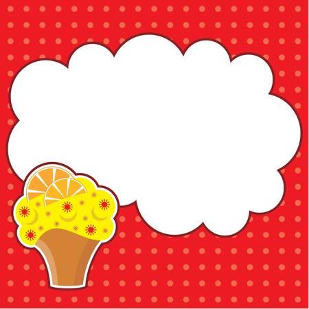 pie de limon: Cupcake con el telegrama en la nube para una foto, la forma