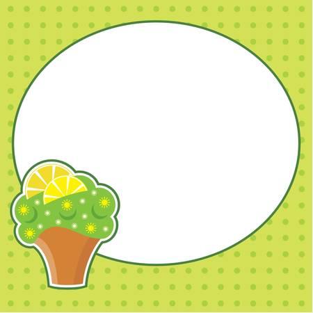 limon caricatura: Cupcake con el telegrama en la nube para una foto, la forma