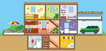 modern huis: Huis in een cut Stock Illustratie