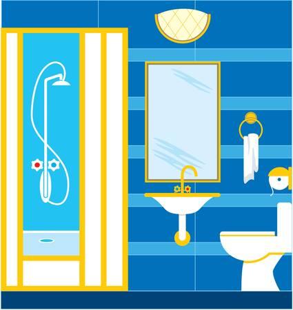 cabine de douche: Salle de bains. Cabine de douche Illustration