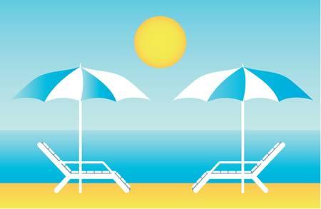 Beach chaise lounges Vector