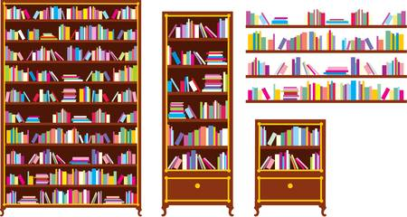 history book: Set of bookcases and shelves Illustration