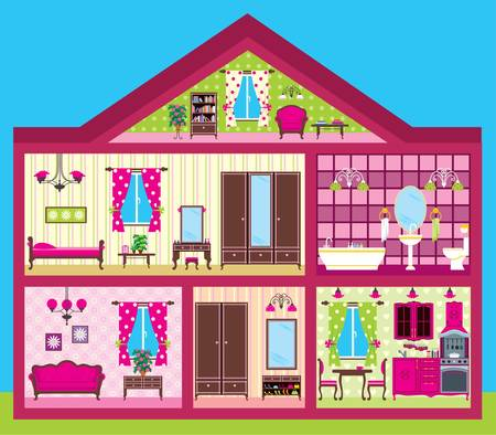 modern doll: House for the girl in a cut