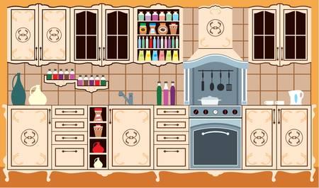 kuchnia: Meble kuchenne. Wnętrze.