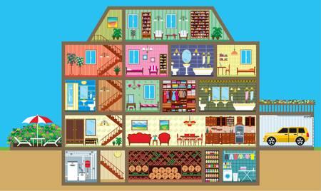 innen: Haus in einem Schnitt Illustration