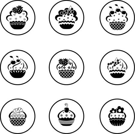 black and white cone: Cupcakes set
