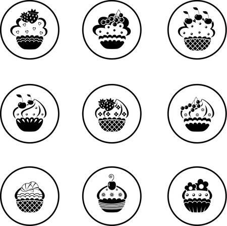 Cupcakes setzen Vektorgrafik