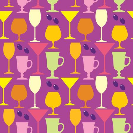 Seamless wine glasses pattern Vector