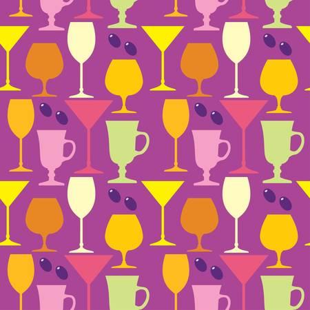Seamless wine glasses pattern Vector