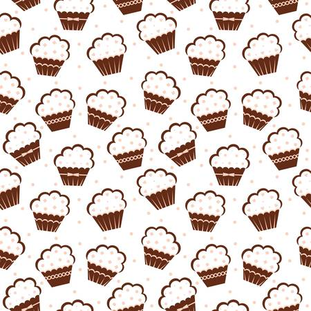 vanilla cake: Seamless cupcake pattern Illustration