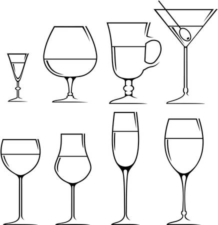 wine glass: Set of symbols and icons glasses for alcoholic drinks Illustration