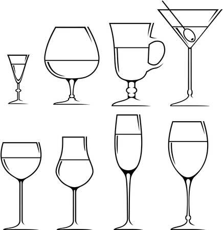 likeur: Set van symbolen en iconen glazen voor alcoholische dranken Stock Illustratie