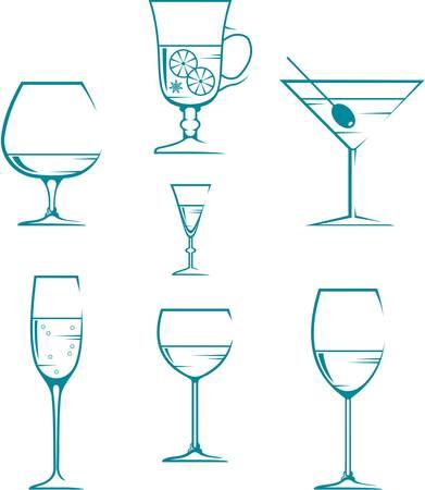 Satz von Symbolen und Icons Gläser für alkoholfreie Getränke Vektorgrafik