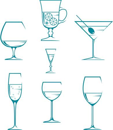 sherry: Set of symbols and icons glasses for alcoholic drinks Illustration