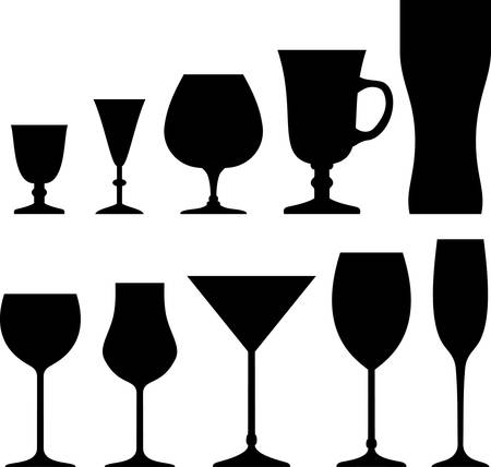 champagne glass: Set of symbols and icons glasses for alcoholic drinks Illustration