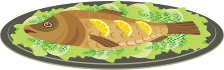 delectable: Dish with the baked fish Illustration