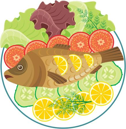 grilled vegetables: Dish with the baked fish Illustration