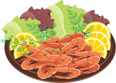 prawns: Dish from shrimps and vegetables