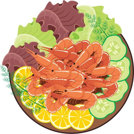 food state: Dish from shrimps and vegetables