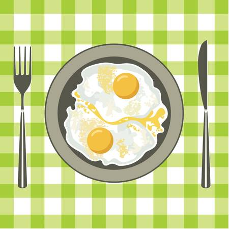Fried eggs in a plate Stock Vector - 14366092