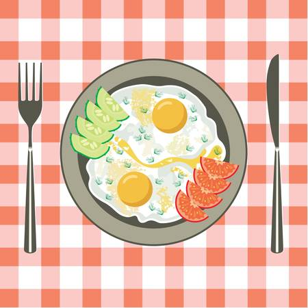 Fried eggs in a plate Stock Vector - 14366139