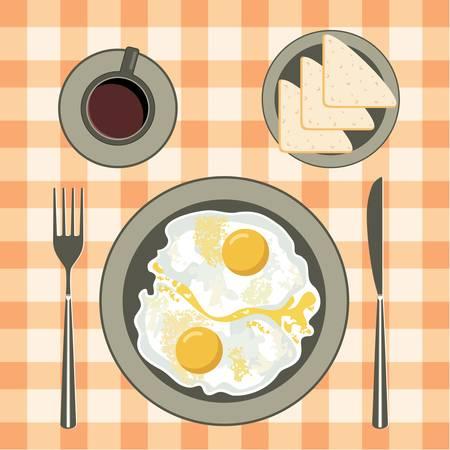 Smażone jajka w talerzu, kawę i chleb