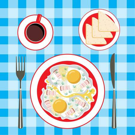 Fried eggs in a plate, coffee and bread Stock Vector - 14366141