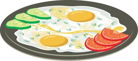 utensilios de cocina: Huevos fritos con verduras